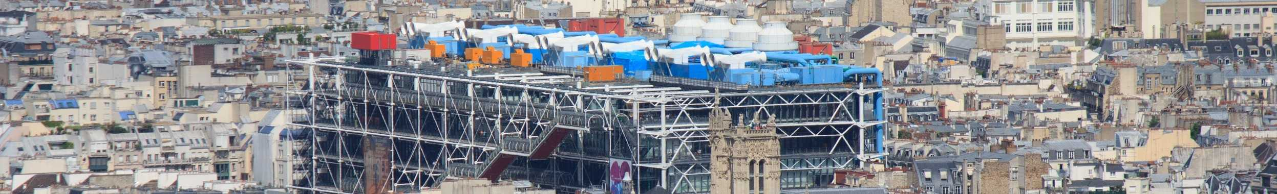 Vue du ciel du centre Pompidou du quartier Châtelet