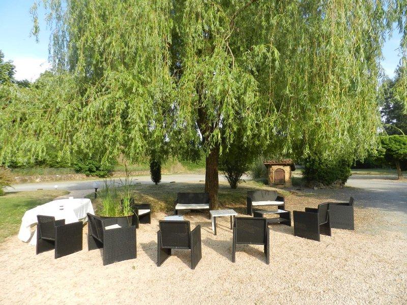 Domaine des Pierres Dorées - Terrasse et Salon de jardin à l'ombre