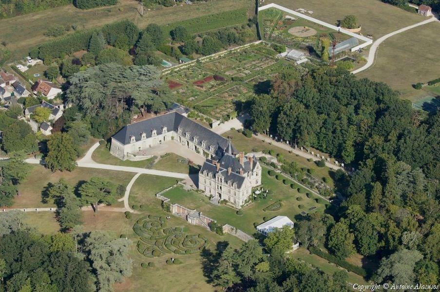 Château de la Bourdaisière - Vue aérienne
