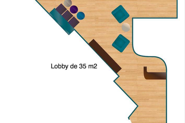 Maison CasaÔ Un lobby de 35 m2 autour duquel les les sept chambres sont disposés