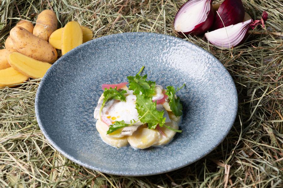 Mercure Chantilly Resort & Conventions  Juliette des sables de la baie de Somme, fumées au lait Ribot, hareng, oignons pickles
