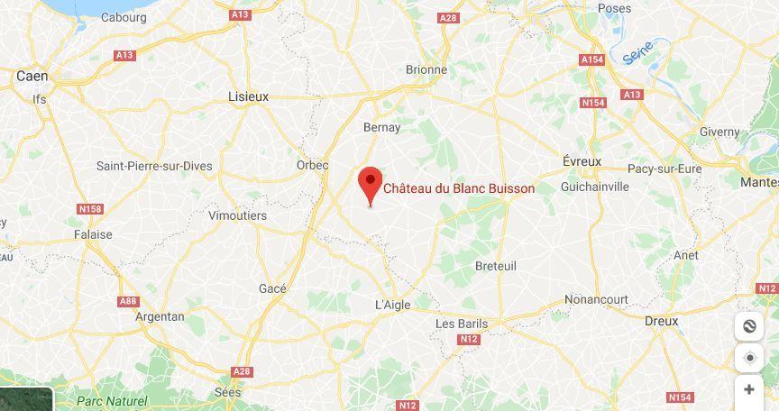 Château du Blanc Buisson plan d'accès au Blanc Buisson