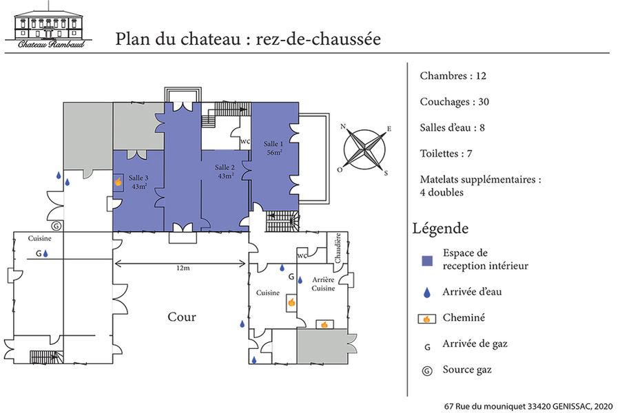 Château Rambaud plan du rez de chaussée