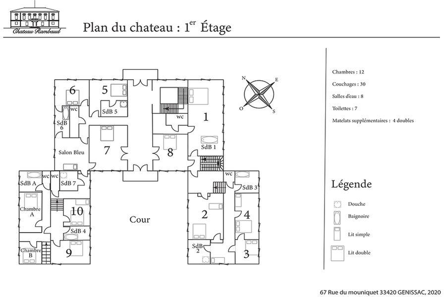 Château Rambaud plan des chambres