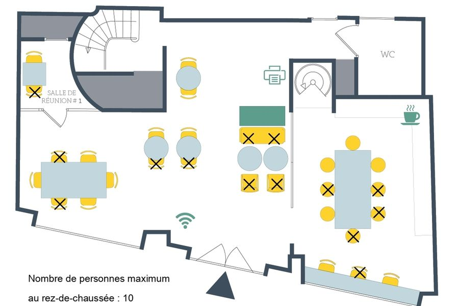 La Canopée Plan aménagement rez-de-chaussée COVID 19