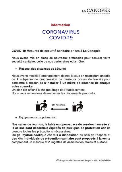 La Canopée COVID 19- Mesures de sécurité (1/2)
