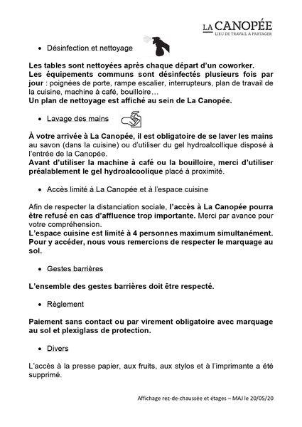 La Canopée COVID 19- Mesures de sécurité (2/2)