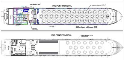 Plan bateau mariage diamant bleu   pont principal