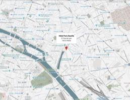 Map hotel paris bastille